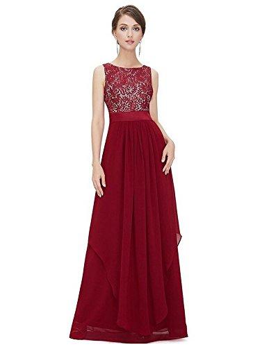 Moollyfox Vestido De La Gasa Mujeres Sin Mangas Elegante Del Cordón XL Vino Rojo