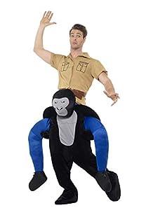 Smiffys-47163 GorilaPiggyback, Disfraz de una Pieza con piernas simuladas, Color Negro, Tamaño único (Smiffy