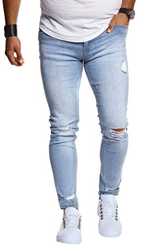 Leif Nelson Herren Jeans Hose Slim Fit Denim Blaue graue Lange Jeanshose für Männer Coole Jungen weiße Stretch Freizeithose Schwarze Cargo Chino Sommer Winter Basic LN9145 Hell Blau W33/L32
