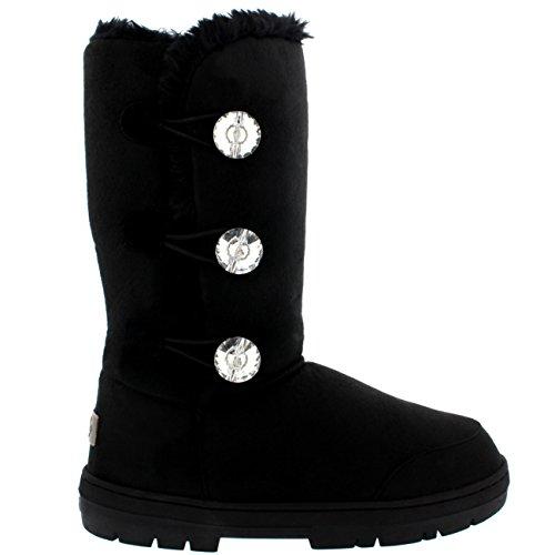 Damen Schuhe Triplet Diamant Fell Schnee Regen Stiefel Winter Fur Boots Schwarz