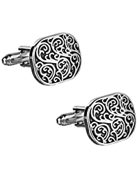 Sol Invictus Silver Black Imperial Art Cufflinks with Gloss Finish