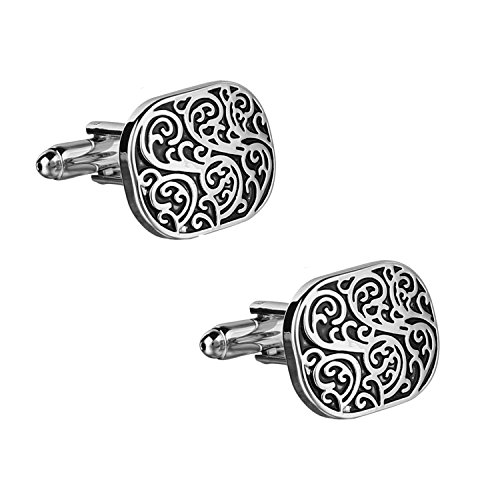 SOLZ Silver Black Imperial Art Cufflinks With Gloss Finish