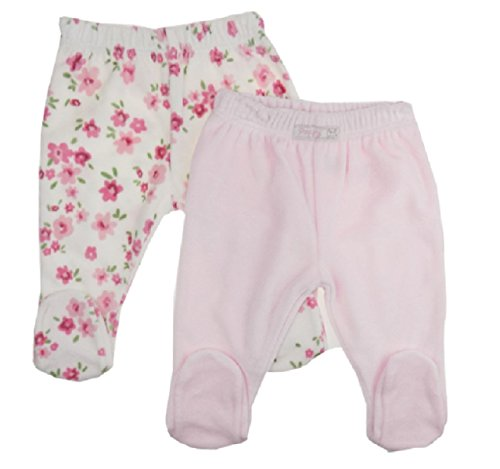 QI Baby Girl Boy Twin Pack Crawlers Trousers With Feet Soft Velour N/B -24 Months (0-3 Months, Light Pink Set)