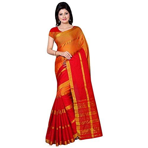 Perfectblue Women`s cotton Silk designer saree with blouse piece(PB1001) (OrangeRED)