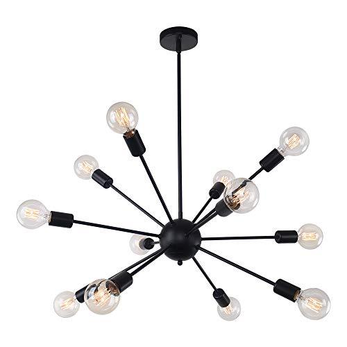 OYI 12-Flammige Sputnik Lampe Modern Kronleuchter Pendelleuchte fit Flache Schräge Decke E27 Lampenfassung Metall für Wohnzimmer Esszimmer Schlafzimmer Küchentisch Shop Restaurant Schwarz -
