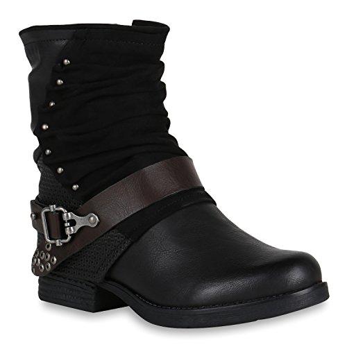 Damen Biker Boots Rockige Stiefeletten Stiefel Leicht 148353 Schwarz Schnallen 36 Flandell