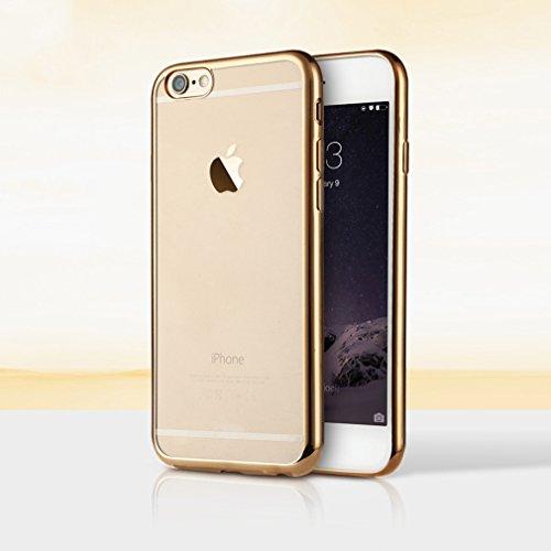 Aursen® Handy Hülle Kratzfeste Plating TPU Case Schutzhülle Atmungsaktive Folie auf Silikon Crystal Case Durchsichtig Rosa für iPhone 6 plus/ iPhone 6S plus mit 9H Hartglas Glasfolie Gold