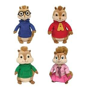 Ty - Lot de 4 peluches Alvin et les Chipmunks - Alvin, Simon, Théodore et Brittany