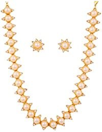 Touchstone Golden Plated Indian Bollywood Faux Pearls And Diamante Look Jewelry Necklace Set For Women