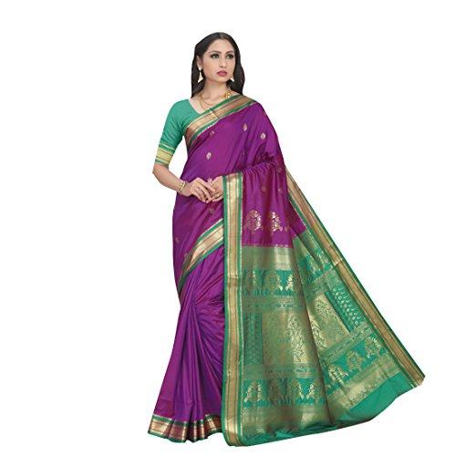 Craftsvilla Women's Silk Blend Zari Woven Traditional Purple Saree with Unstitched Blouse...