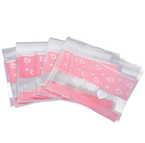 100 Stk. Klare Plätzchen Gebäck Snack Süßigkeiten Geschenk Verpackung Tasche Bowknot (Rosa 3)