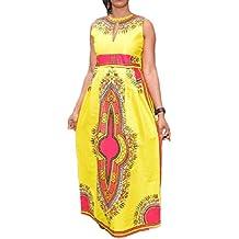 Culater Verano de las mujeres sin mangas ocasional africana tribal de la impresión floral vestido largo