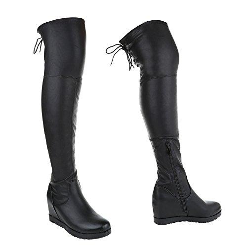 Damen Overknee Stiefel Schuhe Schwarz 36 37 38 39 40 41 Schwarz