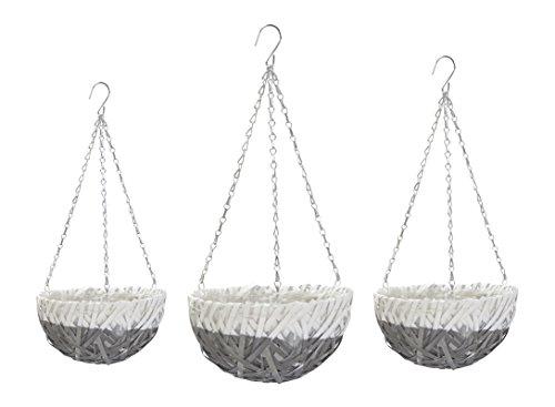 Blumenampel mit Einsatz grau - rund 3 Stück - S, M und L