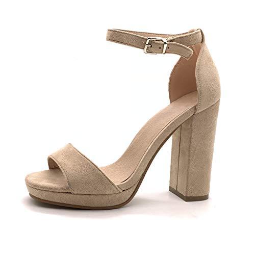 Angkorly - Damen Schuhe Pumpe Sandalen - Offen - Abend - Ehe Zeremonie - Basic - Basic Blockabsatz high Heel 12 cm - Beige W05-6 T 36