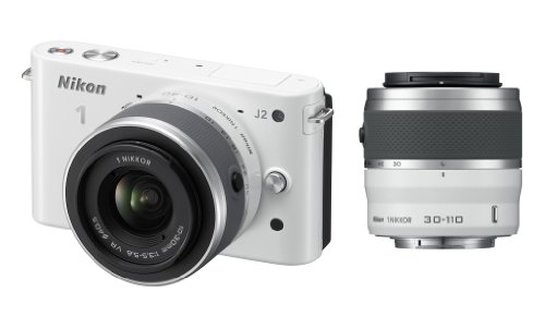 Nikon 1 J2 Systemkamera (10,1 Megapixel, 7,5 cm (3 Zoll) Display) Double Zoom Kit inkl. Nikkor VR 10-30 mm/VR 30-110 mm weiß