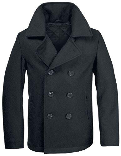Brandit Herren Jacke Pea Coat, Schwarz (Schwarz 2), Small (Kragen Pea Coat)