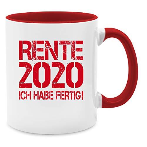 Tasse Berufe - Rente 2020 - Ich habe fertig! - Unisize - Rot - Q9061 - Kaffee-Tasse inkl. Geschenk-Verpackung