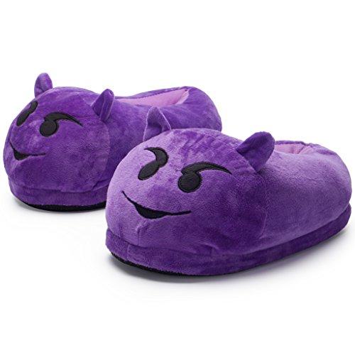 Katara 1782 - Morbidissime Pantofole Emoji Unisex Moppine Emoticon per Adulto Ciabatte da casa Faccine Smiley Peluche per Carnevale, Halloween Taglia Unica 36-44 - Diavoletto