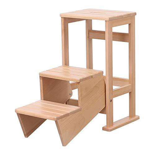 Dsrgwe Trittleiter klappbar, 3-Stufen-Hocker aus Holz tragbare Klappstuhl Regal, Multifunktions-Haushaltsleiter Stuhl Dual-Use-Stepper (Color : Wood Color)