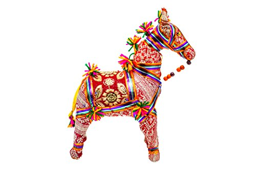 Sangeeta Collection Ethnic Indian Traditional Rajasthani Horse Stuffed Toy Use for Home Office Decor (Medium, 6 inch)