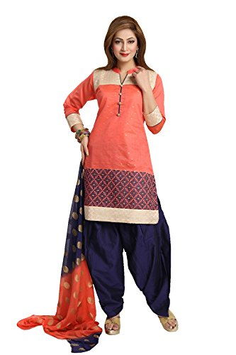 IDHA Chanderi Embroidery Ethnic Stitched Suits for Women - Orange / Black