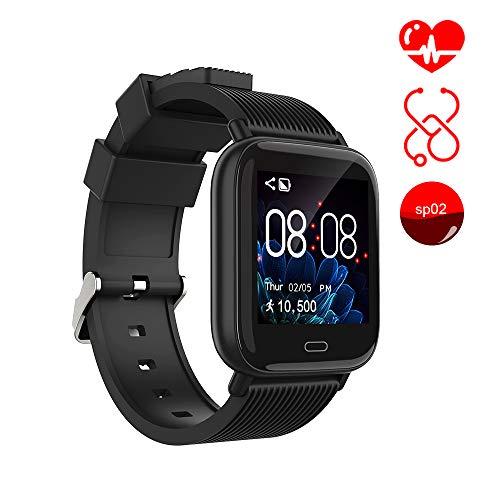 Smart Watch Ayete Fitness Tracker mit Herzfrequenz-/Blutdrucküberwachung Fitness Uhr smart Sportuhr Wasserfest gemäß IP67 Armbanduhr Kamerafernbedienung Damen Smart-Armband für Android iOS (Schwarz)