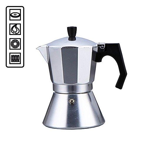 Cafetera de 6tazas específica para placas de inducción, con fondo de acero compatible con cocinas de todo tipo: inducción, vitrocerámica, eléctricas y de gas, hornillos, café moka, espreso, italiano, mocha -5577 plateado