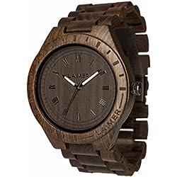LAiMER Herren-Armbanduhr BLACK EDITION Mod. 0018 aus Sandelholz - Analoge Quarzuhr mit braunem Holzarmband