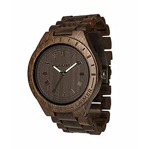 LAiMER Herren-Armbanduhr  BLACK EDITION Mod. 0018 aus Sandelholz – Analoge Quarzuhr mit braunem Holzarmband