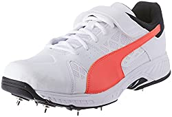 10%off Puma Mens Evospeed B White-Fiery Coral Black Cricket Shoes-10  UK India 12cd25d2a