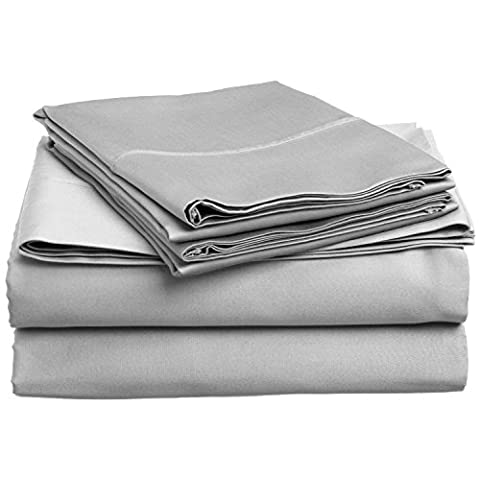 Superior 100% Premium Long-Staple Combed Cotton, 300 Thread Count; Deep-fitting pocket, Soft & Smooth 4-Piece Super-King Sheet Set, Solid Light