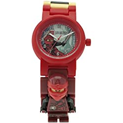 Reloj modificable infantil con figurita de Kai de LEGO Ninjago Hands of Time; rojo/negro; plástico; 28 mm de diámetro; Cuarzo analógico| chico chica; oficial
