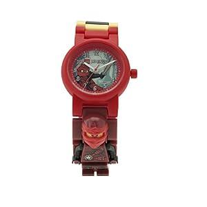 LEGO Ninjago Hands of Time Kai Kinder-Armbanduhr mit Minifigur und Gliederarmband zum Zusammenbauen|rot/schwarz|Kunststoff|Gehäusedurchmesser 28 mm|analoge Quarzuhr|Junge/Mädchen|offiziell