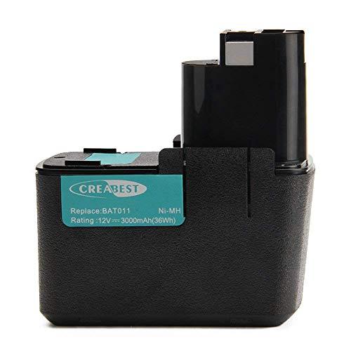 Creabest Reemplazo Batería de Ni-MH de 12V 3,0Ah para Bosch 3300K PSB 12VSP-2 PSR 120 PSR 12VES-2 GBM 12V GLI 12V GSB 12 VSE-2 GDR 12V GSR 12V Replace Bosch 2607335055 2607335071 2607335107 2607335145
