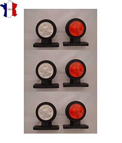 6X 24V SMD LED ROUGE BLANC FEUX DE GABARIT SIGNALISATION CAMION REMORQUE CHASSIS