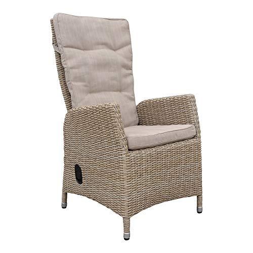 dasmöbelwerk Polyrattan Hochlehner mit Sitzpolstern Rattan Stuhl Relax Sessel Gartenmöbel Gartenstuhl PISA Coffee -