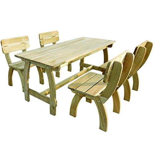 LD Jardín Muebles de jardín Set Asiento Grupo Mesa 4 sillas Madera ...