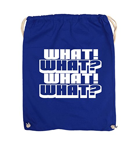 Comedy Bags - WHAT! WHAT! WHAT! WHAT! - Turnbeutel - 37x46cm - Farbe: Schwarz / Pink Royalblau / Weiss
