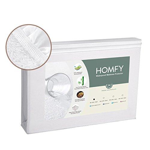 HOMFY Protège Matelas Imperméable, Alèse Respirante, Bonnet Rabat 30cm, Drap Housse, Anti-Acarien Hypo-Allergénique, Eco Bambou Fibre (90x190/200+30cm)
