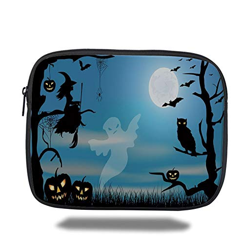 Laptop Sleeve Case,Halloween,Ghost Witch Owl Spider Web Bats Trees Fantastic Grange Forest at Night Decorative,Blue Black White,Tablet Bag for Ipad air 2/3/4/mini 9.7 inch