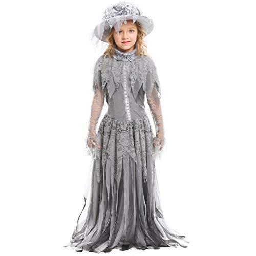 CJJC Ghost Princess Braut Blumenmädchen Kostüm, grau Kinder Lace langes Kleid mit Hut Cosplay Festival Party Schule Leistungsgebrauch M (Kind Ghost Kostüm)