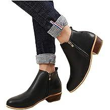 Botines Mujer Invierno Tacon Botas Piel Medio Tacon Ancho Ante Botita 3cm Casual Tobillo Ankle Boots