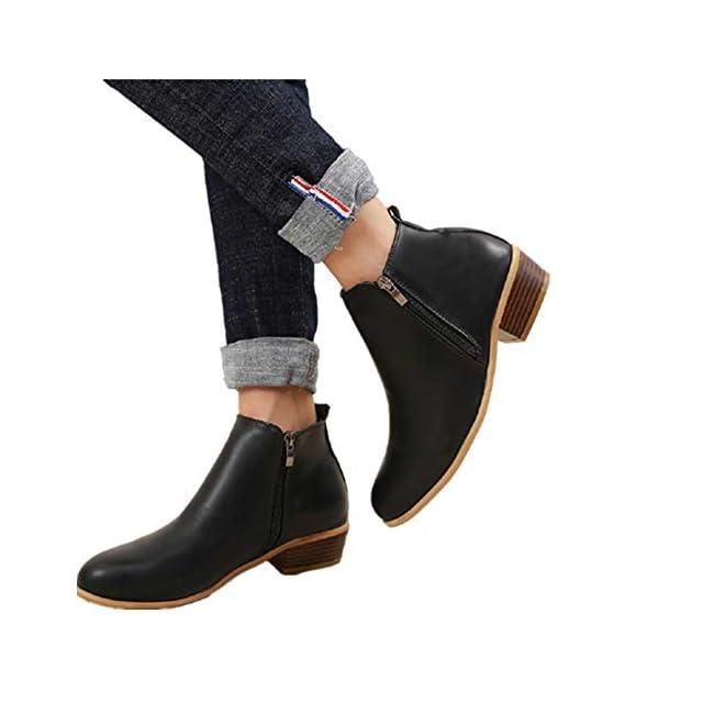 a5cd22b3b4387c Boots Femme Talon Bottine Femmes Hiver Daim Cuir Bottes Chelsea Low Chic  Cheville Compensées Grande Taille ...