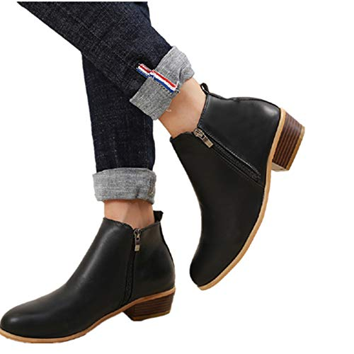 Stivaletti Donna Invernale Bassi Stivali con Tacco Scamosciato Chelsea Elegante Blocco 3cm Moda Comode Ankle Boots Blu Marroni Neri 35-43 BK41