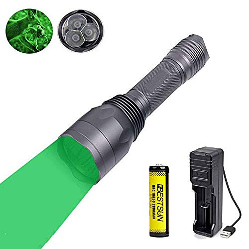 Taschenlampe Grünes Licht, Wiederaufladbare Grün LED-Taschenlampe Leuchtet 3X XP-E2 LED-Langstrecken-Einzelmodus 650 Lumen 300 Meter für Nachtsicht