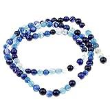 IPOTCH DIY Preciosas Piedras Redondas Granos Sueltos para Hacer Joyería Bisutería Accesorios - Azul Oscuro, 4 mm