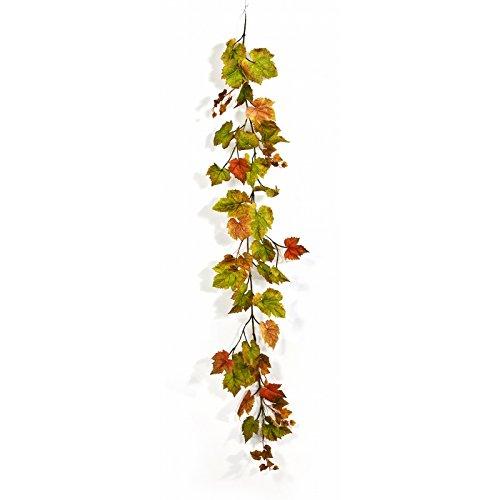 artplants - Künstliche Weinblätter Girlande ALCINA, 62 grün-orange Blätter, 180 cm - Kunst...