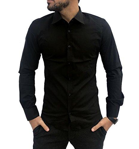Camicia uomo slim fit elegante asso di cuori m l xl xxl elasticizzata celeste blu bianca nera (nero, m)