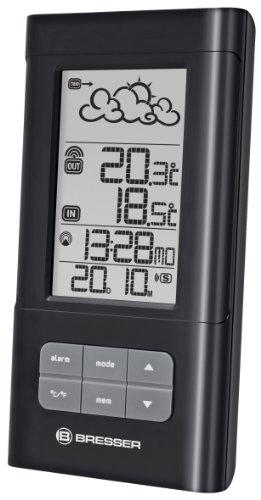 Bresser Wetterstation Funk mit Außensensor TemeoTrend LB mit Innen und Außentemperatur, Wettertrendanzeige, integriertem Standfuß und Aufhängevorrichtung, schwarz
